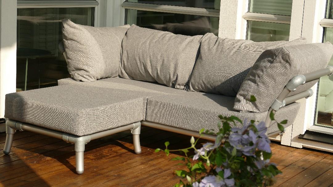 loungebank buiten in outdoor stof grijs