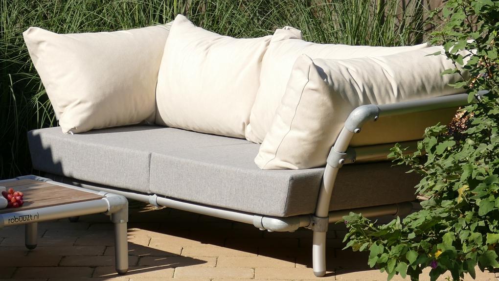 loungebank tuin in outdoor stof wit
