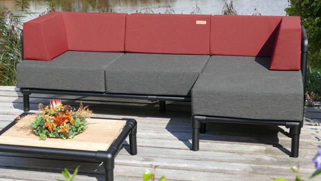 lounge bank buiten  in outdoor stof donker rood