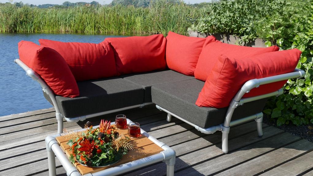 hoekbank in outdoor stof in de kleur rood