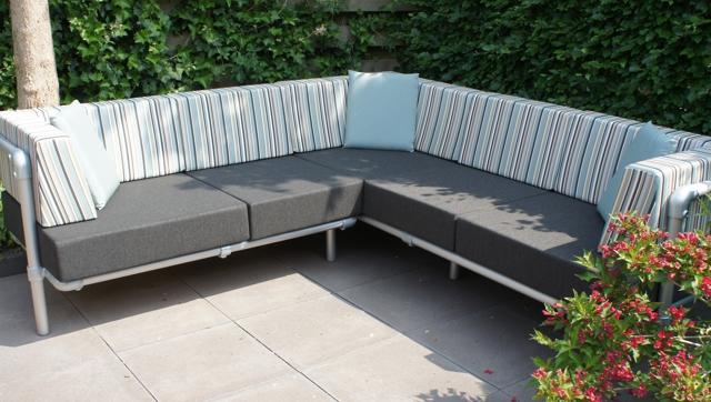 loungebank buiten in outdoor stof in kleur antraciet