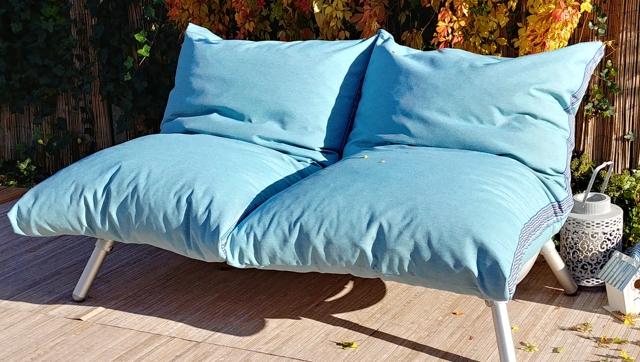 loungebank buiten in buiten stof blauw