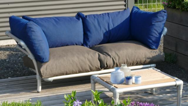 loungebank buiten  in outdoor stof blauw