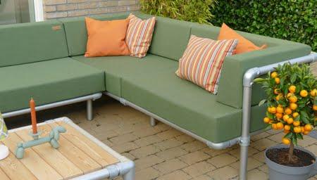 loungebank tuin in de kleur groen