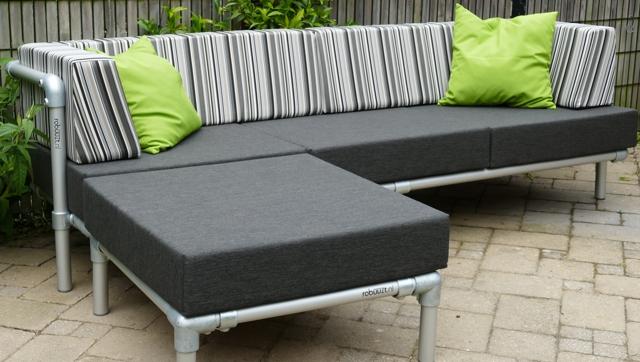 loungebank tuin in outdoor stof antraciet