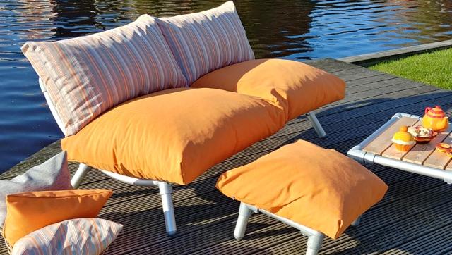 loungebank tuin in outdoor stof oranje