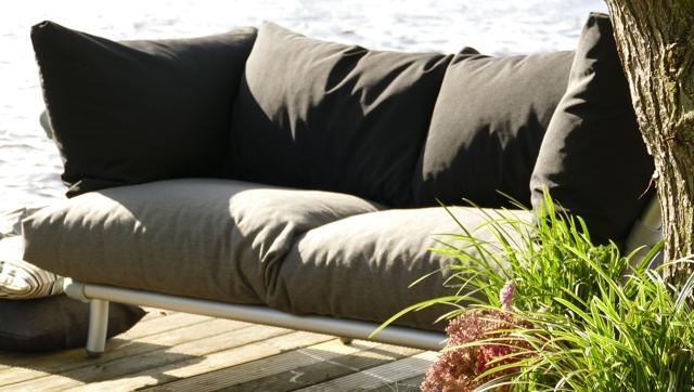 loungebank tuin in outdoor stof zwart