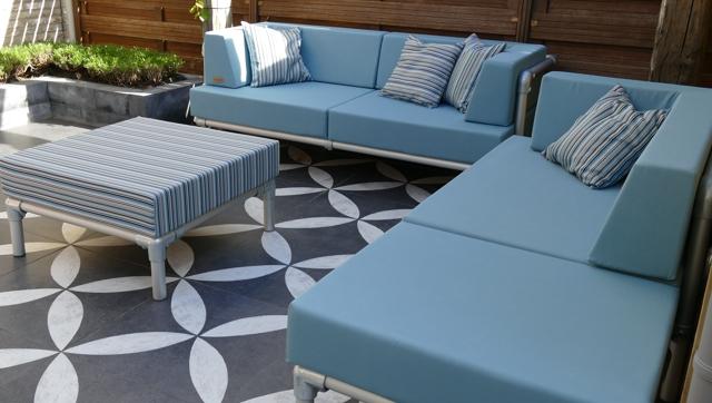loungebank tuin in outdoorstof blauw