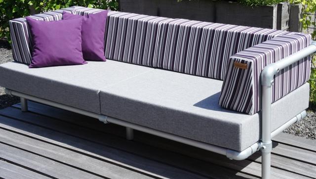 loungebank tuin in outdoorstof grijs
