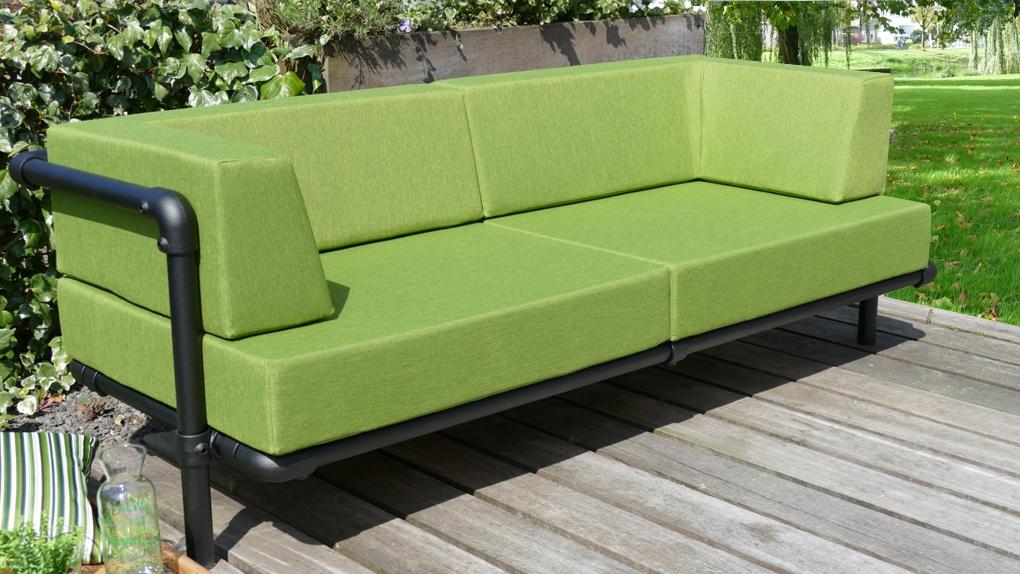 loungebank tuin in outdoor stof in de kleur groen
