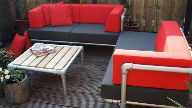 loungebanken tuin in outdoor stof rood