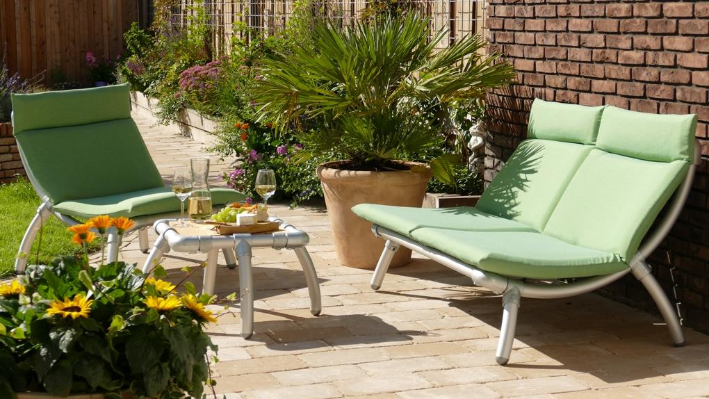 loungeset tuin in outdoor stof in de kleur groen