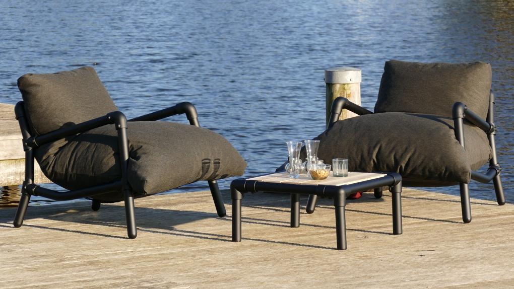 lounge stoelen tuin in buitenstof zwart