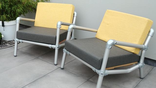 loungestoelen tuin in outdoor stof geel