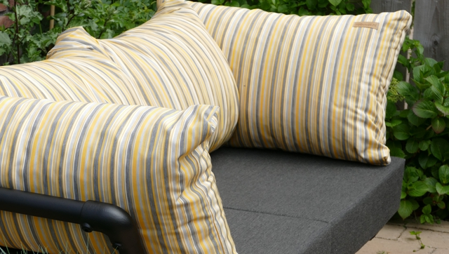 loungebank tuin in outdoor stof geel