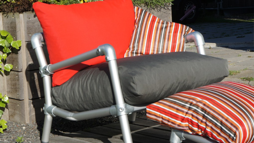 loungestoel tuin in outdoor stof rood